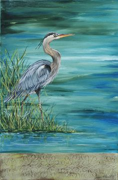 Great Blue Heron 2 Painting by Jean Plout - Great Blue Heron 2 Fine Art Prints and Posters for Sale Watercolor Bird, Watercolor Paintings, Ocean Paintings On Canvas, Large Canvas Art, Blue Canvas, Art Paintings, Coastal Art, Blue Heron, Wildlife Art