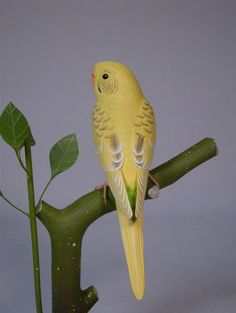 6-3/4 inch Budgerigar yellow Hand Carved Wooden Bird