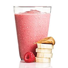 1/4 cup 1% low-fat milk + 1/2 medium ripe banana + 1 tablespoon creamy peanut butter + 1 cup fresh or frozen raspberries + 1/2 cup crushed ice