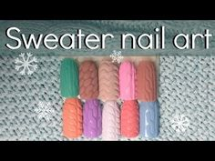 Sweater nail design with gel tutorial ❄ How to knitting style art - YouTube