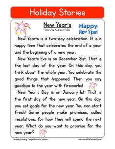 New Years Reading Comprehension Worksheet: Use the information in the story to answer the 5 comprehension questions. Answer Key Is Included. This Reading Comprehension Worksheet is for teaching and learning… Have Fun Teaching, Teaching Reading, English Lessons, Learn English, Free Reading Comprehension Worksheets, Comprehension Strategies, Reading Fluency, Reading Resources, English Reading
