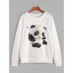 White Panda Print Long Sleeve Sweatshirt ($8.99) ❤ liked on Polyvore featuring tops, hoodies, sweatshirts, white, sweater pullover, polyester sweatshirt, patterned tops, print sweatshirt and white pullover sweatshirt