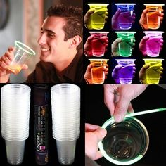 24 Glowing Glow Stick Party Cups 16 18oz 6 Color Assortment | eBay