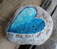 Follow Your Heart. Hand Painted, One of a kind Great Lakes Love Rock