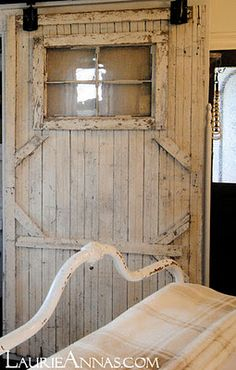 FARMHOUSE – INTERIOR – early american decor inside this vintage farmhouse seems perfect with this barn door, rolling mechanism purchased at tractor supply. Vintage Farmhouse, Farmhouse Style, Farmhouse Door, Farmhouse Remodel, Farmhouse Ideas, Farmhouse Design, Porches, Old Barn Doors, Rustic Doors
