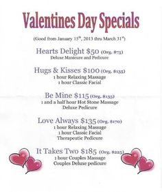 Sensei Med Spa: Valentine's Day Specials 2013 Spa Day Packages, Massage Packages, Spa Promo, Salon Promotions, Massage Marketing, Spa Specials, Spa Prices, Mobile Beauty, Spa Interior