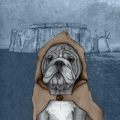 English Bulldog in Stonehenge by Barruf