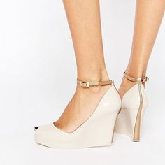 Nude Ankle Strap Heels Peep Toe Wedge Heels for Women image 1 Bridal Shoes Wedges, Best Bridal Shoes, Wedding Wedges, Wedge Wedding Shoes, Shoes Heels Wedges, Peep Toe Wedges, Wedge Heels, Sandal Heels, High Heels