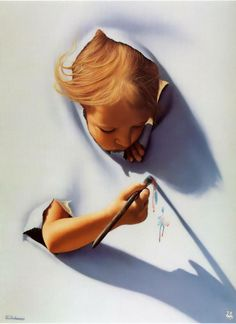 Jim Warren 2012 i chose this because it shows how art gives you a voice and the way that the child is coming out of the painting is amazing Surrealism Painting, Painting & Drawing, Jim Warren, Murals Street Art, Photoshop, Chalk Art, Love Art, Illusion, Amazing Art