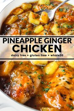 This Pineapple Ginger Chicken is tangy and sweet. No refined sugar. No junk. Just big bright flavors like pineapple, medjool dates, and fresh ginger. So good I bet you'll lick your plate. Plus it's dairy free, gluten free, and Dairy Free Recipes, Paleo Recipes, Real Food Recipes, Cooking Recipes, Chicken Recipes Dairy Free, Paleo Food, Easy Cooking, Paleo Whole 30, Whole 30 Recipes