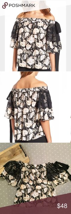 NWT Olivia Palermo+Chelsea28 Silk Off The Shoulder New with tags. Olivia Palermo + Chelsea28 100% Silk Off The Shoulder Top. When bare shoulders met gently ruffled floral silk, it was love at first sight. Overlays of sheer eyelash lace and a drapey grosgrain bow add a dash of dark romance to the classically pretty pattern on this top. Raw Hem style. Ruffle sleeves. 100% Silk. Dry clean. Olivia Palermo Tops Blouses