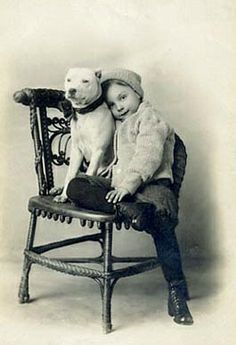 #Vintage #Girl and her #PitBull
