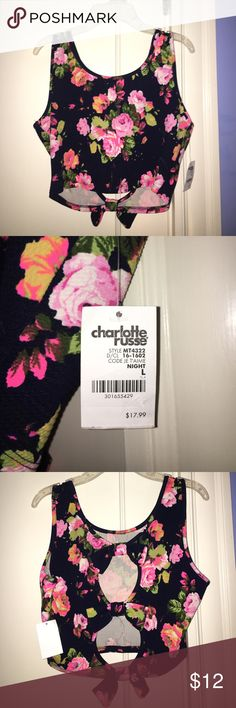 Flower Crop Top Cute Flower Crop Top from Charlotte Russe, Never Worn, Large, Tag Still On Charlotte Russe Tops Crop Tops