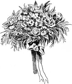 Spring Flowers Clipart Black and White