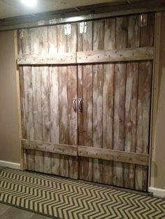 barn door, Basement makeover, My barn doors.  Trim and bottom of door roller arent on yet, making the door look a little uneven.  , Basements Design