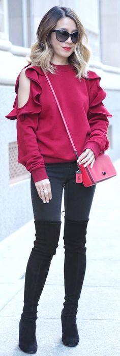 #spring #fashion /  Burgundy Open Shoulder Knit / Black Skinny Jeans / Black Velvet OTK Boots