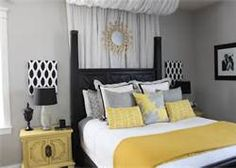 Yellow and grey bedroom ideas. Yellow and grey bedroom ideas. Blue yellow and grey bedroom ideas. Mustard yellow and grey bedroom ideas. Yellow and grey master bedroom ideas. Yellow and grey bedroom decorating ideas. Yellow Gray Room, Grey Room, Yellow Black, Yellow Accents, Blue And Yellow Bedroom Ideas, Navy Blue, Color Yellow, Mustard Yellow, Grey Bedroom Design