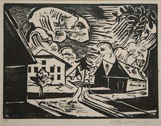 Max Pechstein: Village Street. 1919. Woodcut.
