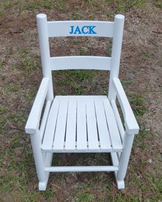 2 Slat Wooden Toddler Rocking Chair / Choose Color and Personalized Name by theparticulars on Etsy
