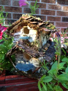 Beautiful two story fairy house with bark moss by ChezDarlington Second Story, Sea Glass, Create Yourself, Unique Gifts, Fairy, Outdoor Decor, Houses, Beautiful, Etsy