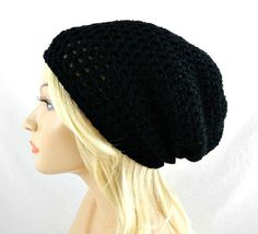 Black Slouchy Beanie, Womens Crochet Slouchy Hat, Slouchy Winter Hat, Black Crochet Beanie, Black Crochet Hat - pinned by pin4etsy.com
