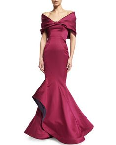 Off-The-Shoulder+Mermaid+Gown,+Sangria+by+Zac+Posen+at+Neiman+Marcus.