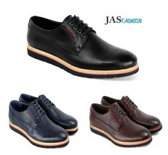Mens Brogue Lace Up Smart Shoes Formal Office Work Casual Wedding Dress UK Size