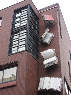 Falling Books - Bookstore in Cologne, Germany; photo by Leithcote, via Flickr