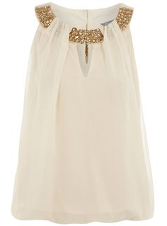 Sleeveless or short sleeved neutral embellished top. Switch out for your work shirt and a pair of evening heels to go from office to the cocktail bar. Slip on a cocktail ring for a final flourish. Evening Tops, Spring Tops, Embellished Top, Petite Outfits, Work Shirts, Girls Night Out, I Love Fashion, Well Dressed, What To Wear