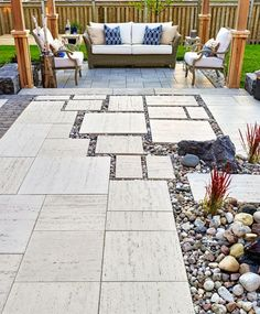 Backyard Patio Stone Design - varied hardscape adds interest.