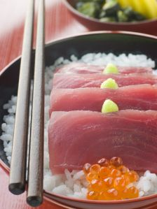 Japanese Food Maguro-don, Tuna Sashimi Rice Bowl