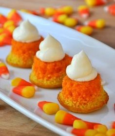 """Candy corn cupcakes from Baking Bites - Eat Your Books is an indexing website that helps you find & organize your recipes. Click the """"View Complete Recipe"""" link for the original recipe."""