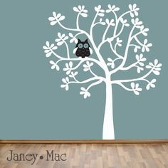 Children's Tree Wall Decal with Owl - Modern Leafy Oak Tree - Woodland Vinyl Wall Art Sticker - Nursery Bedroom Decor - CT122 - G by JaneyMacWalls on Etsy https://www.etsy.com/listing/67537553/childrens-tree-wall-decal-with-owl