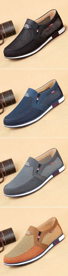 Men Mesh Splicing Comfortable Slip Ons Breathable Casual Shoes