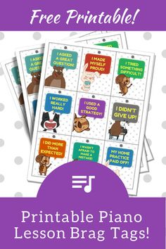 """Piano Lesson """"Brag Tags""""… Add These To Your Studio And Watch Your Students Blossom 