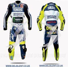 Valentino Rossi VR46 motorbike leather racing suit 2013. #delsilent #DELSIL #valentinorossi #valentinorossi46 #valentinorossifans #vr46 #motorbikesuits #motorbikes #leather #leatherjacket #leatherracingsuits #motogp #menwear #motorbikeracing #cowhide #leathersuit #motogp2017 #racingwear #racinggear #motogp2015 For more details visit www.delsilent.co.uk or inbox at delsilent2015@gmail.com or Whats app & Viber @ 0092-307-6111465 Motorbike Leathers, Motorcycle Jacket, Moto Gp 2017, Valentino Rossi 46, Vr46, Motogp, Motorbikes, Yamaha, Cool Cars