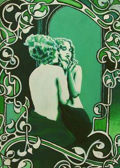 Vanity Art Nouveau Goddess Art ACEO ATC Altar Art by EmilyBalivet, $3.00