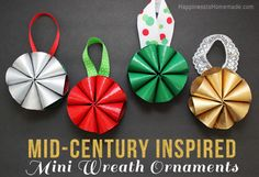 Mid-Century Inspired Mini Wreath Christmas Ornaments - Happiness is Homemade