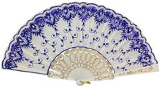 Folding Silk Hand Fan Sequin Embroidery Pattern 9 Royal Blue with White Frame