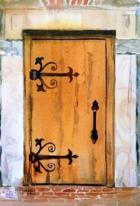 Granary Door sketch by Spencer Meagher Watercolor ~ 10 x 7