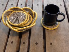 Rope Coasters Grey with Yellow Accent With by AlaskaRugCompany