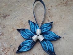 Blue Christmas tree ornament Modern trendy by georgianacristea, $9.00