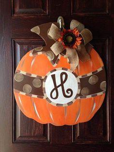Pumpkin fall door hanger