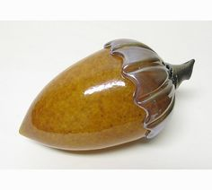 Topaz Acorn by Ken Hanson and Ingrid Hanson: Art Glass Sculpture available at www.artfulhome.com