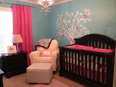 #Turquoise and #hotpink pair so nicely in this baby girl #nursery.  #treedecal #roses