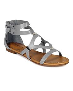 8eda07b482e92d Breckelles CB02 Women Leatherette Strappy Cut Out Flat Gladiator Sandals  Grey Size 75