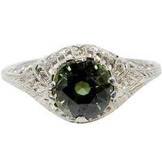 Art Deco Green Sapphire Ring