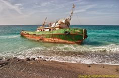 This shipwreck was lying on the beach on the north Musandam coast of Oman