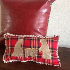 "Rustic Burlap Nativity Pillow | Red Plaid, Coffee Sack and Lace 6"" x 11"" Pillow 