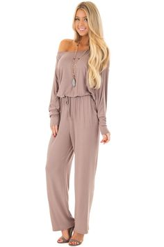 77435b49d0e Long Sleeve Solid Elegant Evening Sexy Dress. See more. Lime Lush Boutique  - Mocha Off the Shoulder Jumpsuit with Waist Tie